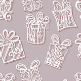 Seamless Pattern with Ornamental Holiday Gifts Stock Photo