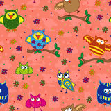 Seamless pattern with ornamental owls over terracotta Stock Image