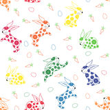 Seamless pattern with ornamental rabbits Royalty Free Stock Photo