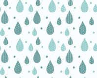 Seamless pattern with ornamental rain drops and line drawings Royalty Free Stock Image