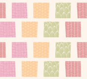 Seamless pattern with ornamental square shapes and line drawings Stock Images