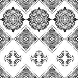 Seamless pattern with ornaments in bohemian style. Native American vector elements painted with grunge brushes Stock Photography