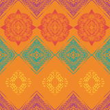 Seamless pattern with ornaments in bohemian style. Native American vector elements painted with grunge brushes Stock Photo