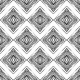 Seamless pattern with ornaments in bohemian style. Native American vector elements painted with grunge brushes Stock Photos