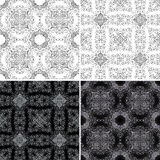 Seamless pattern with ornaments. Set of four seamless pattern with ornaments and swirls. Isolated on a white background and glowing white ornaments isolated on a Royalty Free Stock Photo