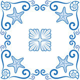 Seamless pattern. Ornate azulejo styled tiles with seaside theme. Starfish and shells. Marine theme in blue color. Vector illustra Stock Photography
