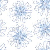 Seamless pattern with ornate chicory flower in blue on the white background with blots. Floral background in contour style Royalty Free Stock Images