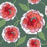 Seamless pattern with ornate chrysanthemum Stock Photos