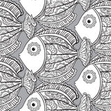 Seamless pattern with ornate fishes. Royalty Free Stock Photography