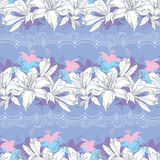 Seamless pattern with ornate Lily flower in white Royalty Free Stock Photos