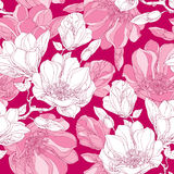 Seamless pattern with ornate magnolia flower, buds and leaves in white on the pink background. Stock Image