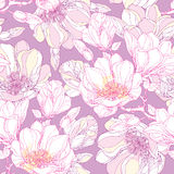 Seamless pattern with ornate magnolia flower and leaves in white on the pastel background. Floral background in contour style. Stock Photo