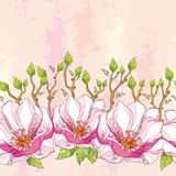 Seamless pattern with ornate magnolia flower in pink and green leaves on the textured background in pastel color. Royalty Free Stock Image
