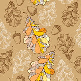 Seamless pattern with ornate oak leaves and acorns Stock Photo