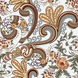 Seamless pattern with ornate paisley and colorful curls, roses Stock Photo