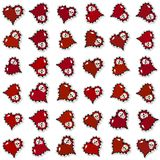 Seamless pattern with ornate red hearts and skulls Stock Photo