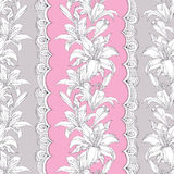 Seamless pattern with ornate white Lily flower, bud, leaves and decorative white lace on the pink background. Royalty Free Stock Image