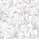 Seamless pattern with ornate white Lily flower and leaves on the white background. Elegance monochrome floral background. Royalty Free Stock Photography