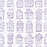 Seamless pattern outine houses Royalty Free Stock Image