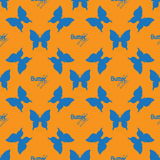 Seamless pattern with outline blue butterflies Stock Photo