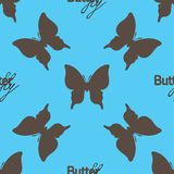 Seamless pattern with outline brown butterflies Royalty Free Stock Photo