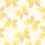 Seamless Pattern, Outline Butterflies Royalty Free Stock Photography