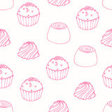 Seamless pattern with outline candies Royalty Free Stock Photography