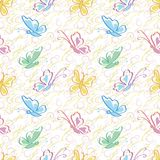 Seamless pattern, outline colorful butterflies Royalty Free Stock Photography