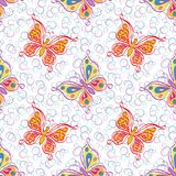 Seamless pattern, outline colorful butterflies Stock Photography
