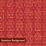 Seamless pattern outline cute houses Stock Photos