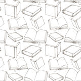 Seamless pattern with outline decorative books Royalty Free Stock Image
