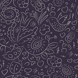 Seamless pattern outline doodles bird flowers Royalty Free Stock Photography