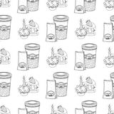 Seamless pattern with outline drawings on the theme of coffee. A cup of hot coffee and cakes vector illustration