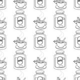 Seamless pattern with outline drawings on the theme of coffee. A cup of hot coffee or tea and jar of coffee vector illustration