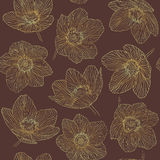 Seamless pattern outline flowers dryas, gold gradient line vinous background. Seamless pattern outline flowers dryas, gold gradient line on vinous background Stock Photos