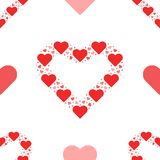 Seamless pattern outline heart made from small hearts valentines. Day i love you romantic Royalty Free Stock Photography