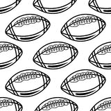Seamless pattern with outline rugby balls Royalty Free Stock Image