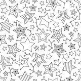 Seamless pattern with outline stars. Coloring book page for adults and older children. Stock Images