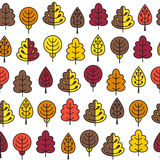 Seamless pattern with outline stroke icons with autumn tress. Stock Photography