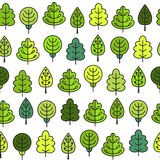 Seamless pattern with outline stroke icons with green tress. Vector illustration for your cute design Stock Photos