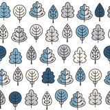 Seamless pattern with outline stroke icons with winter tress. Stock Photos