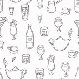 Seamless pattern with outline style drinks Stock Images