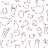 Seamless pattern with outline style drinks in vector. Beverages background for bar, menu or cafe design Stock Photography