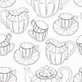 Seamless pattern with outline style tea service Royalty Free Stock Images
