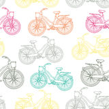 Seamless pattern with outline vintage bicycles Royalty Free Stock Images