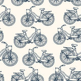 Seamless pattern with outline vintage bicycles Royalty Free Stock Photography
