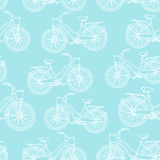 Seamless pattern with outline vintage bicycles Royalty Free Stock Photos