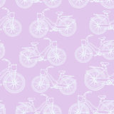 Seamless pattern with outline vintage bicycles Stock Photo