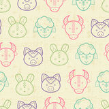 Seamless pattern with outlined farm animals Stock Images