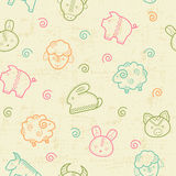 Seamless pattern with outlined food signs. Seamless pattern with outlined animal signs (sheep, pig, rabbit, bull) in creative ethnic style. Happy babyish color vector illustration